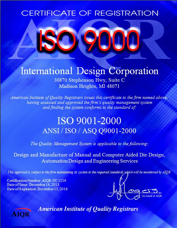 International Design Corporation - ISO 9001:2000 Accreditation